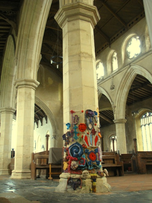 Aiming to crochet 'a pillar of the community' in cley church as part of NNEP summer exhibition this is the coverage so far at 1/6th