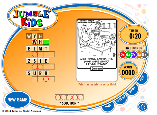 Jumble Kids - Word puzzles just like those found in newspapers. #elemchat #spedchat #wordgames Chose a date and unscramble the letters to discover words which will solve the puzzle.  I really liked doing these as a kid. Nice to see that they are still around. Puzzles can be printed also. There's is a hint button too! Could have used that may times. LOL Included in  Word Party Word Games You may also like… Word Dynamo Knoword Meriam-Webster Word Games  Super Spellers