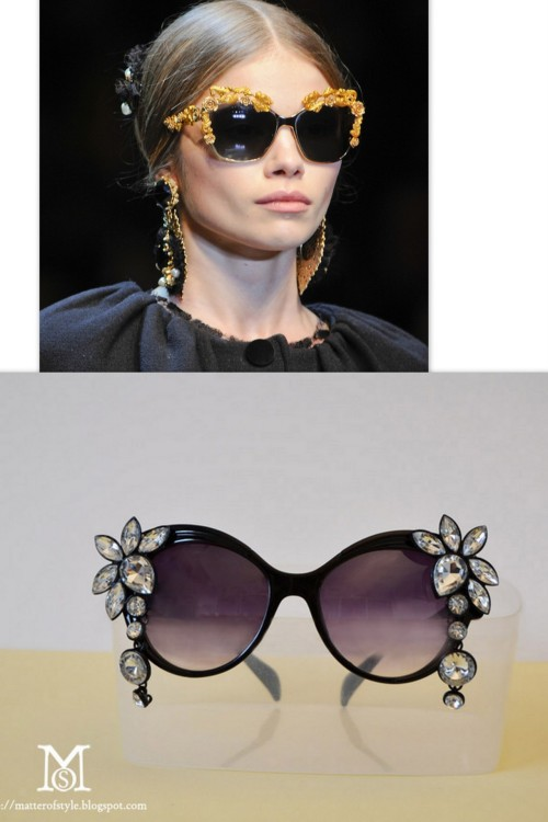 truebluemeandyou:  DIY Embellished Jeweled Sunglasses. Top Photo: Dolce &Gabbana Fall 2012 Embellished Sunglasses here, Bottom Photo: DIY by A Matter of Style. For those of you who thought my past posts on sunglasses' makeovers were too tame and not sparkly enough (mini roundup here, Miu Miu inspired glitter sunglasses here), A Matter of Style has come up with a very easy tutorial to embellish your sunglasses - and I mean easy.