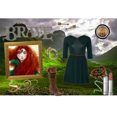 DISNEY : Merida by stargirlala featuring string jewelryGlamorous dress, £20Slouchy black boots, $40House of Harlow 1960 gold plated earrings, $49Adia Kibur string jewelry, $20KG Kurt Geiger gold plated jewelry, £20Giorgio Armani gold eye shadow, $32Lancôme lipstick, $25Jane Iredale gold eye makeup, $16Metallic eyeshadow, $10Spirals Armlet Arm Band, $4.99