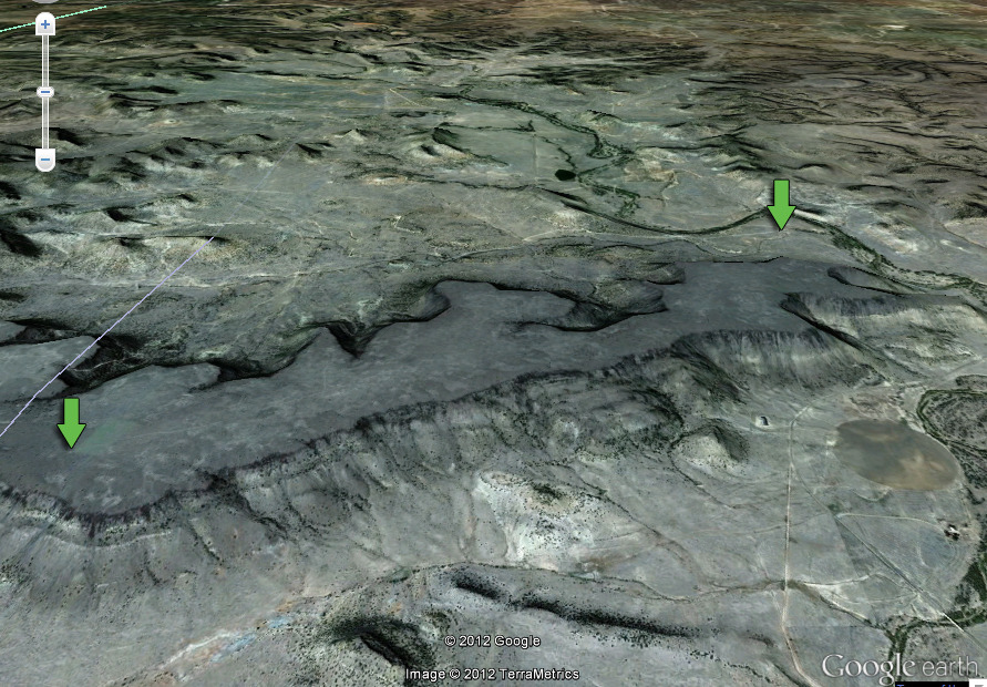 Black Mesa - Some more fun with Google Earth.  This is Black Mesa the highest point in Oklahoma near Kenton in the far northwest corner of the panhandle. The green arrow on the right is the location of the dinosaur tracks. The green arrow on the left is the location of the Black Mesa highest point monument. The grey line on the lower far left is the New Mexico / Oklahoma border.   place: http://blogoklahoma.us/place.asp?id=791  map: http://g.co/maps/4q7jw