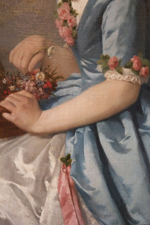 French young woman (detail) by Anonymous painter of the spanish rococo school, 1756.