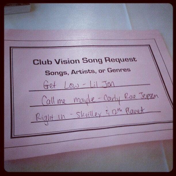 Did i just request songs for the Club Vision party? #ohyesidid (Taken with instagram)