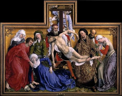 "The Descent from the Cross, between1435 and 1438, Museo del Prado, Madrid Rogier van der Weyden Large image:  HERE Detail            . The Descent from the Cross (or Deposition of Christ, or Descent of Christ from the Cross) is a panel painting by the Flemish artist Rogier van der Weyden created c. 1435, now in the Museo del Prado, Madrid. The work shows the Deposition of Christ. The crucified Christ is lowered from the cross, his lifeless body held by Joseph of Arimathea and Nicodemus. The c. 1435 date is estimated based on the work's style, and because the artist acquired wealth and renown around this time, most likely from the prestige this work allowed him.  It was painted early in his career, shortly after he completed his apprenticeship with Robert Campin and shows the older painter's influence, most notable in the hard sculpted surfaces, realistic facial features and vivid primary colours, mostly reds, whites and blues. The work was a self-conscious attempt by van der Weyden to create a masterpiece that would establish an international reputation. Van der Weyden positioned Christ's body in the T- shape of a cross bow to reflect the commission from Louvain guild of archers for their Notre-Dame-hors-des-Murs chapel. Art historians have commented that this work was arguably the most influential Netherlandish painting of Christ's crucifixion, and that it was copied and adapted on a large scale in the two centuries after its completion. The emotional impact of the weeping mourners grieving over Christ's body, and the subtle depiction of space in Van der Weyden's work have generated extensive critical comments, one of the most famous being, that of Erwin Panofsky: ""It may be said that the painted tear, a shining pearl born of the strongest emotion, epitomizes that which Italian most admired in Early Flemish painting: pictorial brilliance and sentiment… Art historian Lorne Campbell has identified the figures in the painting as (from left to right): Mary Cleophas (half-sister to the Virgin Mary); Saint John the Evangelist, Mary Salome (in green, another half-sister of the Virgin Mary), The Virgin Mary (swooning), the corpse of Jesus Christ, Nicodemus (in red), a young man on the ladder - either a servant of Nicodemus or of Joseph of Arimathea, Joseph of Arimathea (in field-of-cloth-of-gold robes, the most sumptuous costume in the painting), the bearded man behind Joseph holding a jar and probably another servant and Mary Magdalene who adopts a dramatic pose on the right of the painting. There is disagreement between art historians as to the representation of Joseph of Arimathea and Nicodemus. Dirk de Vos identifies Joseph of Arimathea as the man in red supporting Christ's body, and Nicodemus as the sumptuously dressed man supporting Christ's legs, the opposite of Campbell's identification.  wiki"