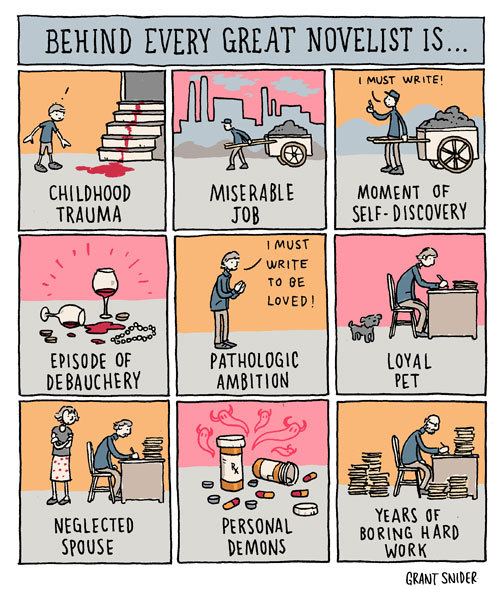 incidentalcomics:  Behind Every Great Novelist (Illustration for the NY Times Book Review)