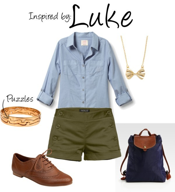 Luke (Professor Layton) by ladysnip3r featuring a chain necklace This outfit is inspired by Luke of the Professor Layton Series. I chose to do a girl outfit because his outfit is already pretty girly. I tried to keep it a bit tomboy, by keeping the shorts and oxfords. I also added bangles that are shaped like puzzle pieces and a bow tie necklace. I think my favorite part of it this outfit is the backpack - it's super cool for school and really fits the part of Luke. (Reference Image) Quiksilver chambray shirt, $55Steve madden shoes, $60Longchamp backpack, $118Erica Anenberg 14k jewelry, $144Chain necklace, $9.99