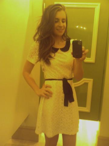 REALLY YELLOW CELL PHONE SHOT OF ME IN MY WEDDING REHEARSAL DRESS!! Woot. $24 at Forever21 for the win.