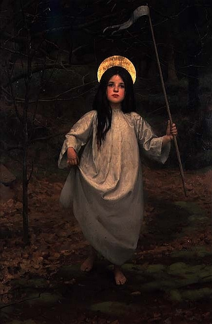wolfe-bites:  The Flag    -by Thomas Cooper Gotch (1910)  This is one of my favourite paintings.