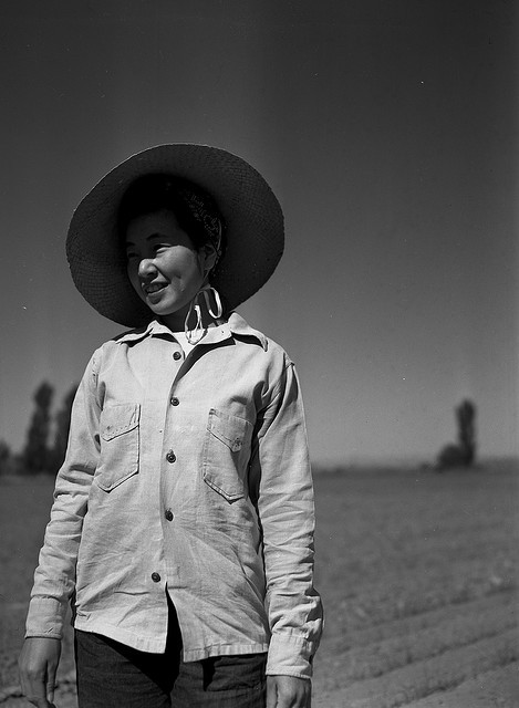 Portrait of a Japanese American woman by OSU Special Collections & Archives on Flickr. One of the largest Japanese American communities in Oregon after World War II was in the Ontario area, in Eastern Oregon's Malheur County. From the Oregon State University Special Collections and Archives Research Center blog:  We don't know much about the woman in this picture, apart from the fact that it was taken in 1946 and she is a Japanese American field worker in Ontario, Oregon. During World War II, the federal government forced West Coast Japanese immigrants and Japanese Americans to leave their homes for internment camps or inland states…[I]n May 1942, Malheur County became one of the first counties to recruit Japanese American evacuees for farm work.  via Flickr/osucommons