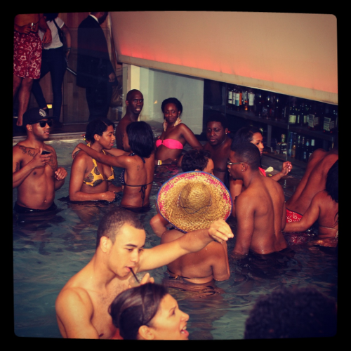 @bcondoms pool party at the Grace Hotel in NYC