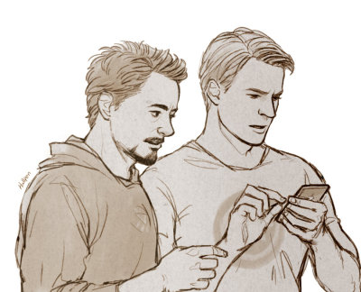 thoughtsofarandommind:  Avengers: Steve and Tony by *Hallpen