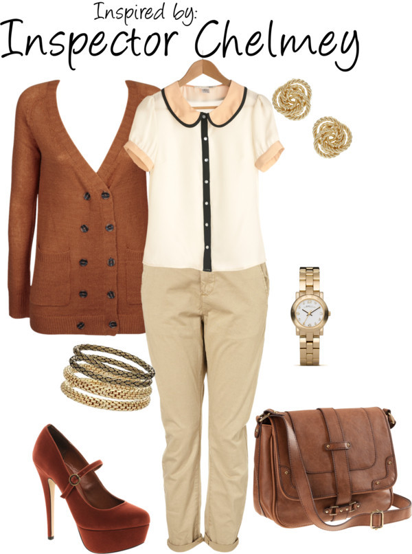 Inspector Chelmey (Professor Layton) by ladysnip3r featuring gold watches This outfit is inspired by Inspector Chelmey from the Professor Layton series. I chose a similar palette of browns and tans, but decided to do more of a casual take on his suit (he always looks so frumpy anyways). (Reference Image) Don t Ask Amanda cardigan, $80Button down shirt, $38Chino pants, $56High heels, $49H M leather shoulder bag, £20Marc by Marc Jacobs gold watch, $200Miss Selfridge gold bangle, $15Gold stud earrings, £3