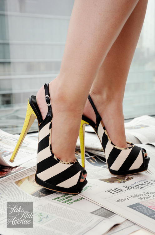 10022-shoe:  Stripes! Leopard! Yellow Python! Giuseppe Zanotti is all over the papers!Photo by KSW
