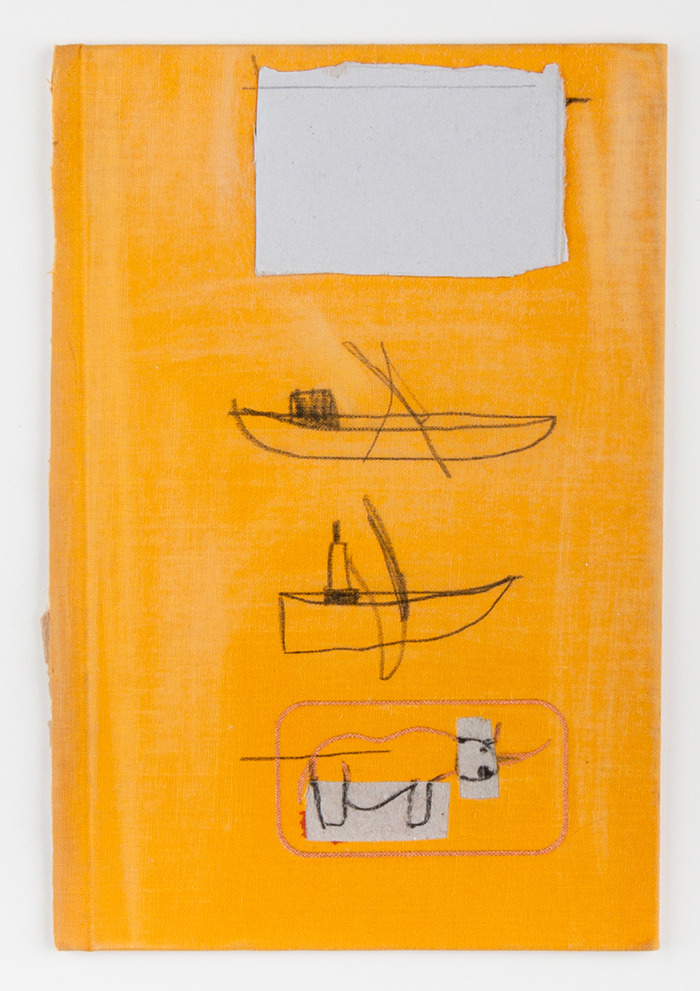 W. Tucker, Two Boats & Rino, Charcoal, paper, graphite on book cover, 2011