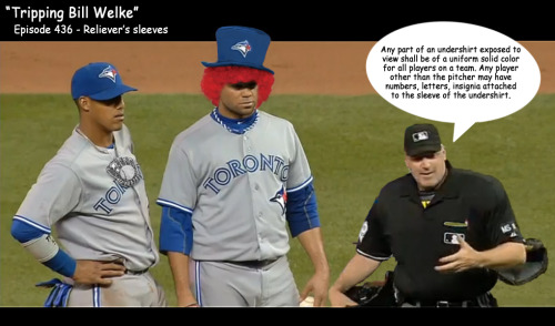 "captainlatte:  #BlueJays Luis Perez & Yunel Escobar confounded by Bill Welke who is obvs on 'shrooms. This call probably means that the ball didn't hit Bautista either, right? Crazy ump is crazy. Also: bonus points to Buck for ""uneven sleeve"" theory. In depth coverage via the delightful Big League Stew;""As you heard on the highlight, Blue Jays broadcaster Buck Martinez was initially confused and thought Perez had to change his shirt because the sleeves were different lengths. But the truth was that Perez's first undershirt featured silver piping down the side — a no-no that's spelled out in the MLB rulebook — which caused the wardrobe change delay:1.11 … (2) Any part of an undershirt exposed to view shall be of a uniform solid color for all players on a team. Any player other than the pitcher may have numbers, letters, insignia attached to the sleeve of the undershirt. (3) No player whose uniform does not conform to that of his teammates shall be permitted to participate in a game.""Catch the lulzy clip here;http://ca.sports.yahoo.com/blogs/mlb-big-league-stew/toronto-luis-perez-causes-wardrobe-delay-donning-illegal-180356128.html"