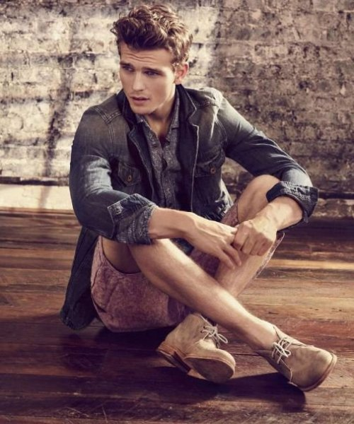 Spring/summer 2012 Hugo Boss. More great casual summer short looks. And with the lighter tones of the orange collection, not only will you look cool, but it will keep you that way as well! How to create this look Denim Jacket Button down Men's lilina shorts Commos oxford