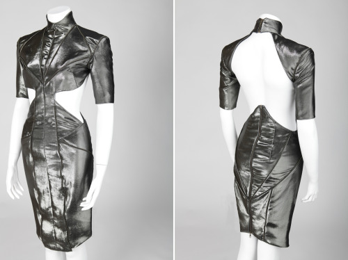 Hogan McLaughlin Fall 2012 collection sliver silk lame dress with zipper detail