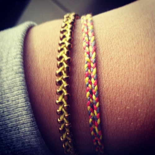 Just made a wrap around braided bracelet! #bracelet #diy #instagram #instahub #colors #gold #metal #yellow  (Taken with instagram)