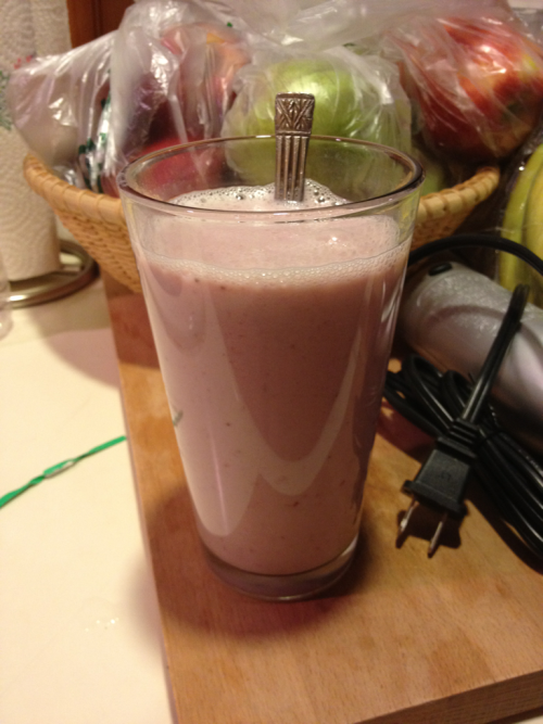 Strawberry milk made with homemade strawberry syrup ^o^ It's gonna be a gay, lactose-filled summer.