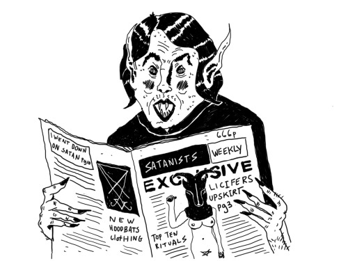 markchristopherillustration:  Satanists Weekly  Speaking of having a lot of feelings… Mark, this is GOLD!