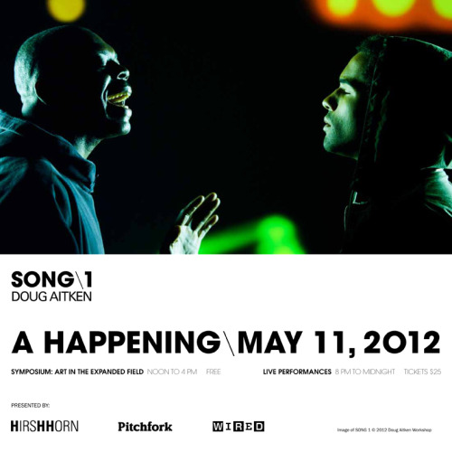 "Click here to watch multimedia artist Doug Aitken's ""Happening"" event— featuring Animal Collective's Geologist, Nicolas Jaar, Oneohtrix Point Never, No Age, High Places, Tim McAfee-Lewis, and Leo Gallo— live right now."