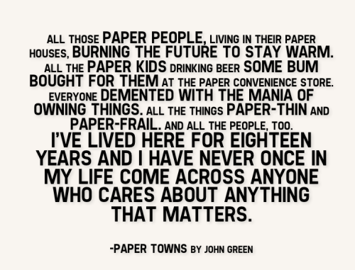 Oh Paper Towns. Oh Margo Roth Spiegelman. Oh I love in these books. And now: lunch with Doctor Who and then….THEEEEESIIIIIIIS. And I should dedicate eh 20 minutes to prepping for the last discussion section…lol