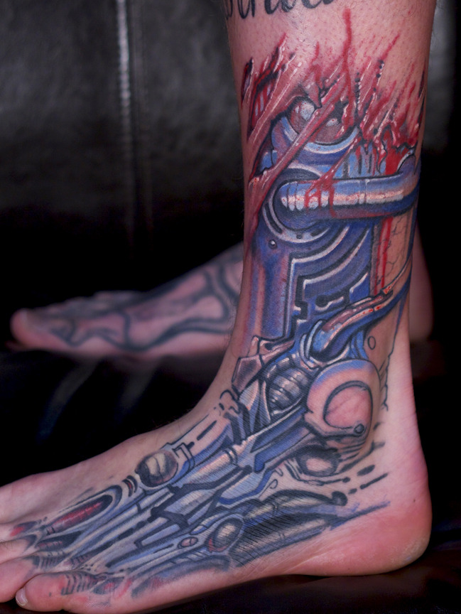 Marshall's biomech foot/ankle tattoo in progress…. -by Paco Dietz at Graven Image Tattoo
