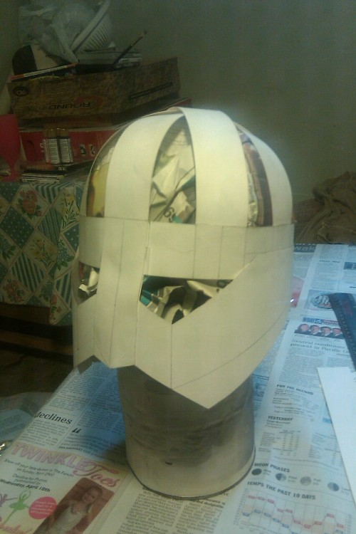 Step 1, tag board frame, of Skyrim helmet 2.0. (Apparently this didn't post the first time I tried)