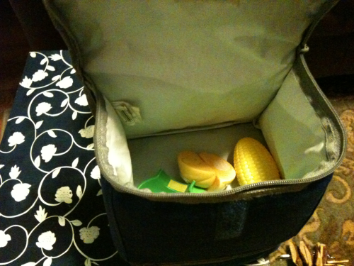 This evening I found that Dorothy packed me a pretend lunch.