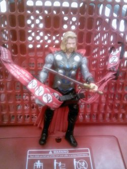 Thor takes a ride in the Target wagon.