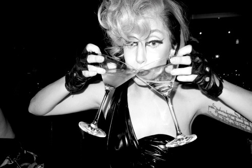 terrysdiary:  Gaga having drinks at the bar.
