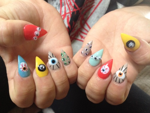 Check out my co-workers nails! SO CUTE! LOS ANGELES you should check out Nail Service! Here are some YELP reviews (you can even check out some other nail art through the reviews!). Next time I'm in town I'm going to take a trip over to the Salon and get something wild done.