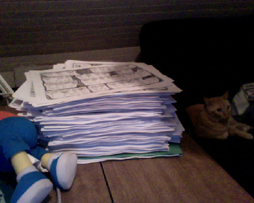 Fat stack of 100 copies of Free Dogfood #3 that need to be stapled. Also, Solid Attitude tour booking is going surprisingly well even though I've never played further west than Lincoln, Nebraska. Also Nerv tour is coming along very nice as well. Spending half my summer on tour.