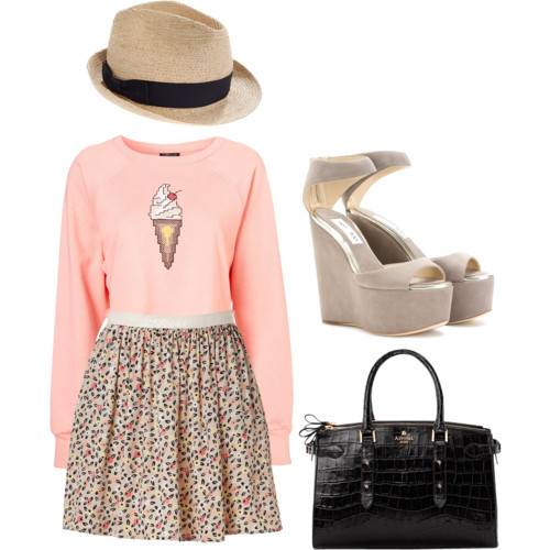 Margaret by jessocampo86 featuring platform wedge sandalsCotton shirt, $48American Vintage mini skirt, $90Jimmy Choo platform wedge sandals, $995Aspinal of London black leather handbag, £640Madewell straw fedora, $58