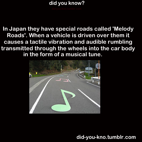lotusflowergems:  smileelovelyy:  did-you-kno:  Musical roads are also known to exist in: Denmark, South Korea, and the United States of America. Source 1, 2  Whereeee???  I need this!!!  These lucky people XD…