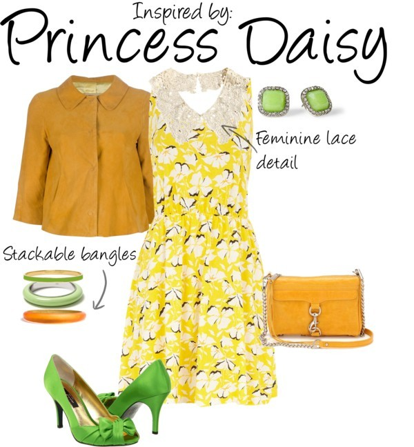 Princess Daisy (Mario Series) by ladysnip3r featuring chain jewelry This outfit is inspired by Princess Daisy of the Mario games. I chose to do a very 50's ladylike outfit, complete with retro cut dress and jacket. I chose shades of yellow, mustard, and green to imitate her color palette. I also chose feminine details to mimic her girly personality in the games. (Reference Image) Dorothy Perkins cotton dress, $44Suede jacket, £444Nina peep toe heels, $80Rebecca Minkoff leather handbag, $195Alexis bittar jewelry, $65Kate spade bangle, $32Stud earrings, $22Banana Republic resin jewelry, $20Chain jewelry, $16