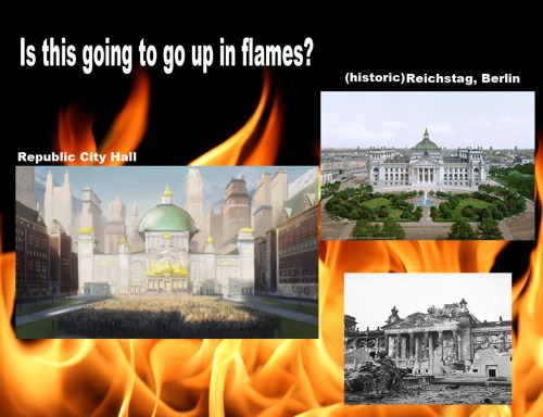 Is The City Hall Going to go up in Flames? Ever noticed how you could draw similarities between the political situation of the Weimar Republic and Republic City? Just speculating here, but what is Amon's rise going to entail? A march? Riots? Attacks on public buildings? Is the City Hall going to burn, just like the Reichstag did? One thing is certain, though, LOK is going to take a turn for the dark. Soon.