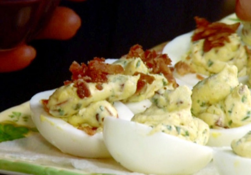 BLT Deviled eggs http://www.foodnetwork.com/recipes/paula-deen/blt-deviled-eggs-recipe/index.html