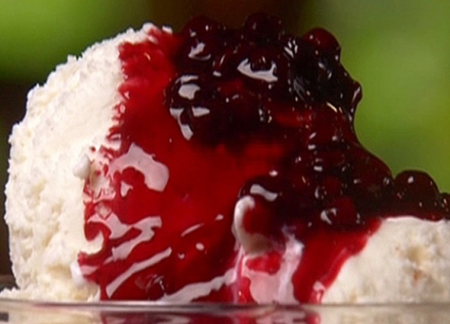 Huckleberry sauce over vanilla over cream http://www.foodnetwork.com/recipes/paula-deen/leopolds-huckleberry-sauce-recipe/index.html