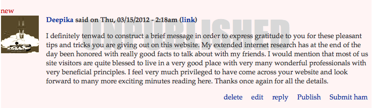 SOMEONE unpublished the comment from the most grateful uptown reader ever