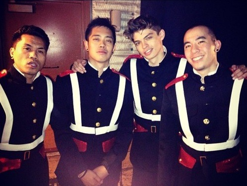 """Mos Wanted Crew!!! Jun, Brian Puspos, Ian Eastwood & Jawn Ha backstage at ABDC in their wardrobe for tonight's performance! #abdc @junquemado @brianpuspos @ian_eastwood @jawnha"""