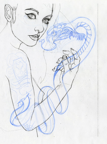 "brianewing:  ""Deftones snake sketch""Original Art8.5""x11""blue pencil on bond paperMore info HERE EDIT=SOLDJust posted some new original artwork for sale in my shop. It kills me to sell the pieces. Each one of them is like my baby. So I hope they go to good homes. Got moving bills to pay.I'll be posting new originals for sale daily for the next few days. There's roughly around 34 new pieces available at different price ranges.The 25% off discount for the ""Moo-Ving"" sale applies to the original art as well!   Love it! Amazing sketches as always by an amazing artist, Brain Ewing. The snakes killer too!  Totally inspired now to start on my girl drawing!"