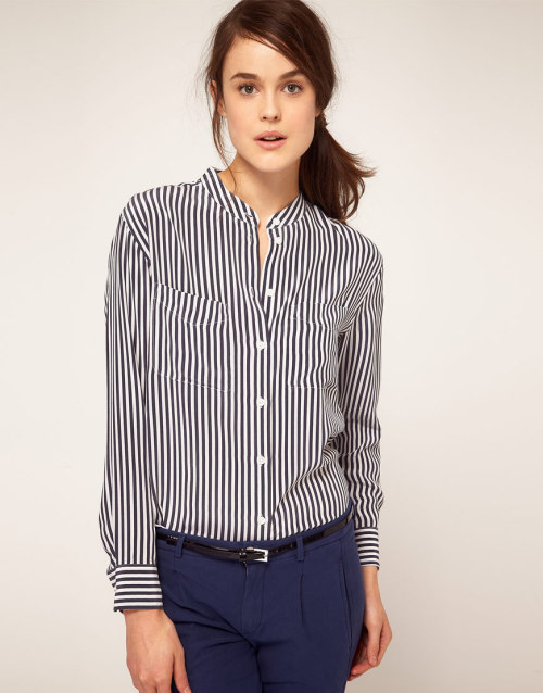 Equipment Two Pocket Stripe Collarless ShirtMore photos & another fashion brands: bit.ly/JgP4Zr