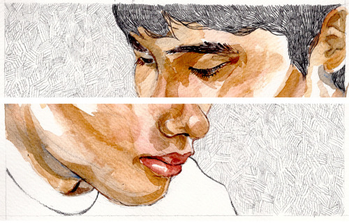 eatsleepdraw:  Watercolor and graphite pencil on paper.  Studies of my brother.