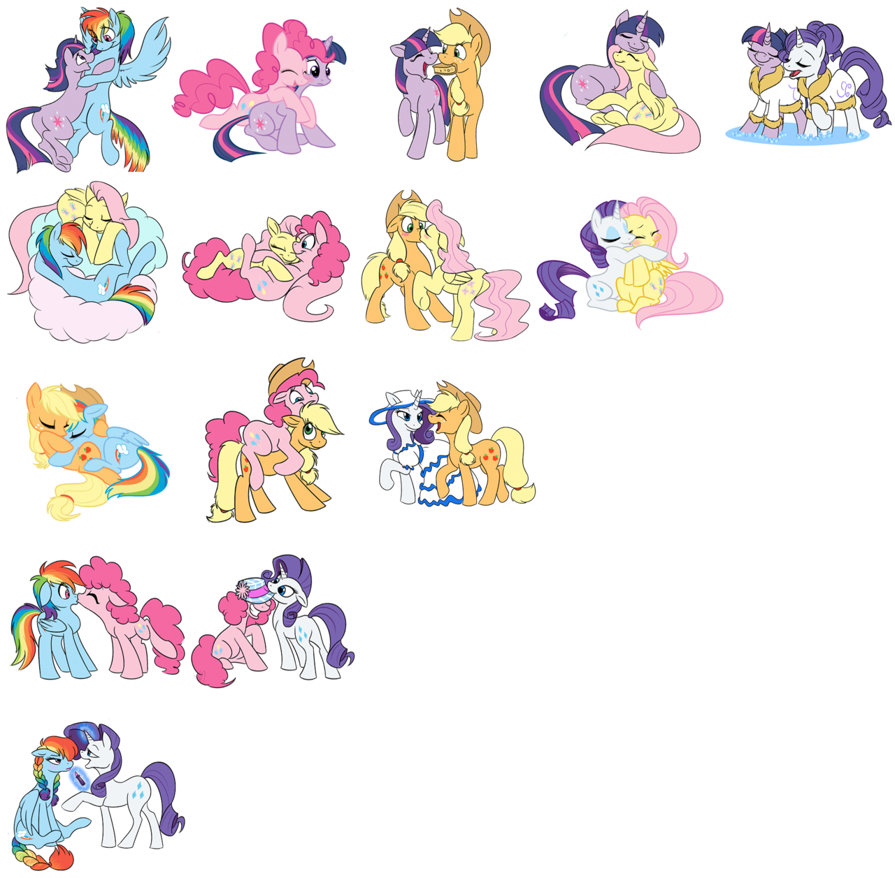 twilightsparklesharem:  rainbowdash-likesgirls:  Ponies, y u so shippable?  I agree with every one of these ships.