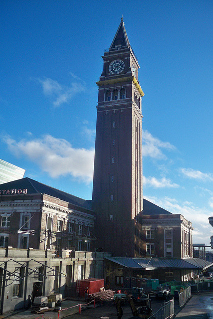 Il Torre on Flickr.Via Flickr: Seattle's King Street Station with emphasis on it's clocktower. The tower is a replica of St. Mark's Campanile in Venice, Italy. At foreground, renovation work continues at the station, which is served by Amtrak and Sound Transit trains as well as Northwestern Trailways and Cantrail buses.
