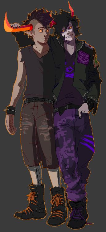 tavros-hot-butt:  yummytomatoes:  skullcaps:  Gamzee and Tavros in punk. Okay okay next thing will be of some of the girls  skullcaps is my art hero /screams  oh my god they look so pERFECT