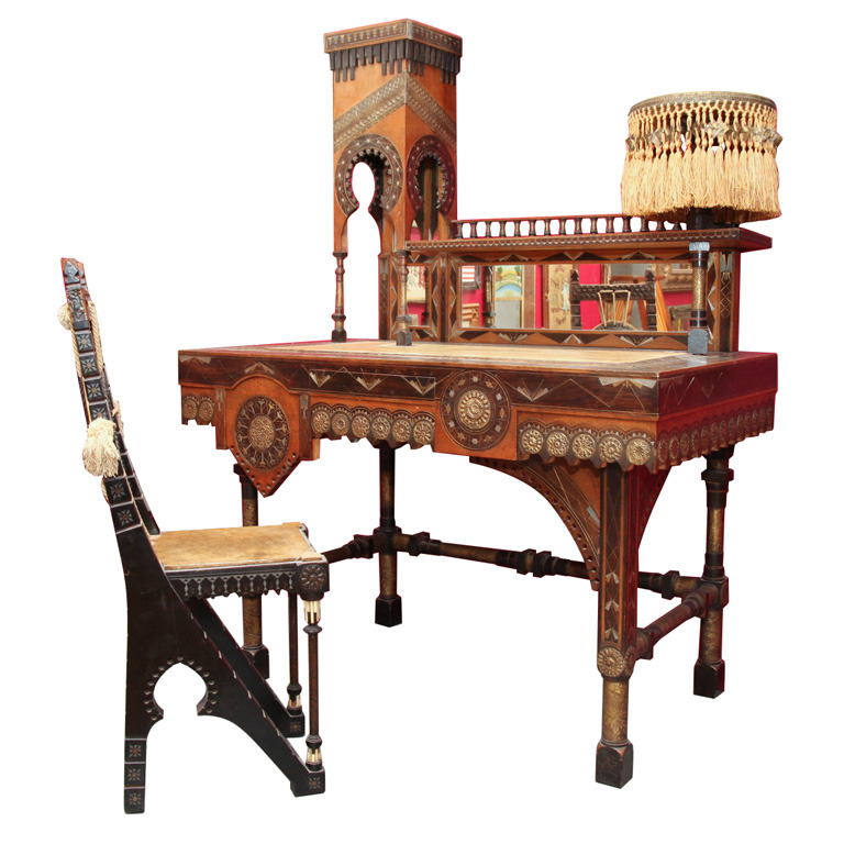 omgthatartifact:  Desk and Chair Carlo Bugatti, 1890 1stdibs.com
