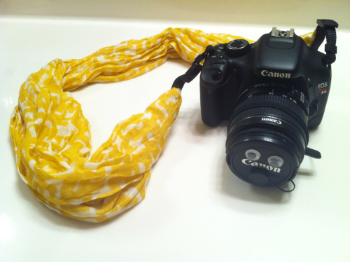 Scarf camera strap, not quite finished, but done for today