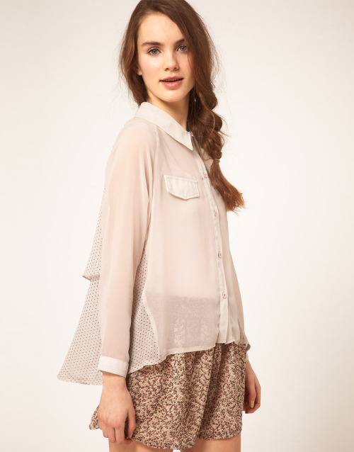Dahlia Chiffon Spot Shirt With Contrast FrontMore photos & another fashion brands: bit.ly/JgTtM2